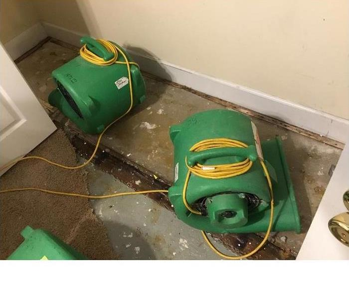 sub floor, air movers, wet baseboards, electrical cords, mitigation