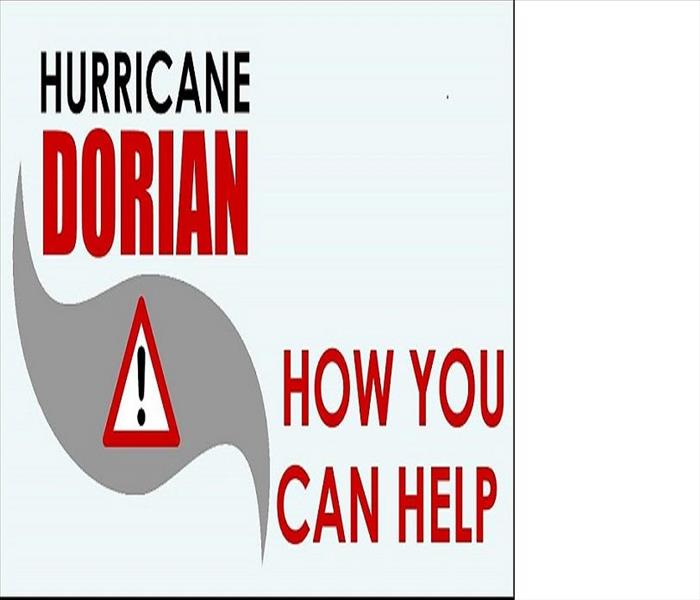 Red triangle with white exclamation point on a wave for Hurricane Warning. Wording Hurricane Dorian How Can Your Help.