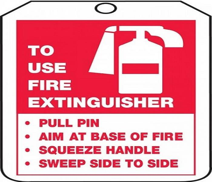 fire extinguisher, use instructions, wording pull,aim,squeeze, sweep