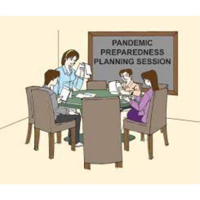round table, pandemic preparedness session, 4 individuals in session